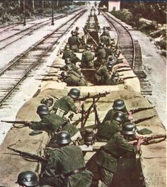 Not an armored train actually, but rather flatbeds lined with troops as defense against partisan attack