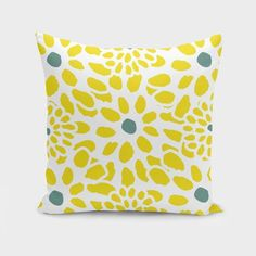 Flowers in Yellow Cushion/Pillow - 16 x 16 / Included
