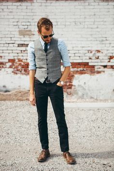 """August 3, 2014. Wedding. Vest:Ludlow Prince of Wales- J. Crew - $54 (similar)Shirt:Slim Fit Linen- Everlane (c/o)Pants:American Apparel Slim Slack- $15 - Buffalo Exchange (similar)Shoes:Charlie- J. Shoes -JackThreads- $80Tie: Forever 21 - $9 (similar)Watch:Classic Bristol- Daniel Wellington (c/o) -15% off with code """"stayclassic"""" until August 15!Belt:J. Crew Factory- $22Sunglasses:Ray Ban Clubmaster- $89 (EZContactsUSA) (cheaper)"""