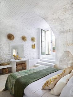 Fascinating Mediterranean Decor Ideas For Home - Fascinating Mediterran. - Fascinating Mediterranean Decor Ideas For Home – Fascinating Mediterranean Decor Ideas F - Farmhouse Master Bedroom, Master Bedroom Design, White Bedroom, Brick Bedroom, Bedroom Designs, Modern Bedroom, Master Suite, Earthy Bedroom, Indian Bedroom