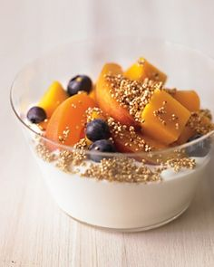 Whole Living - Quinoa Crunch with Seasonal Fruit and Yogurt: For each cup of quinoa, mix with 1 tablespoon agave syrup and 1 tablespoon safflower oil; spread in a layer on a baking sheet and bake at 375 degrees for 10 minutes. Let cool and serve with yogurt and fruit. Serves at least 4. Store in an airtight container. Recipe via Whole Living.