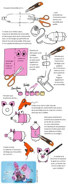 DIY enfants : fabriquer une tirelire cochon - Who Is Gabi Butler? Cheerleading Highlights Part 1 Bottle Art, Bottle Crafts, Diy Photo, Recycled Crafts, Diy And Crafts, Diy For Kids, Crafts For Kids, Recycling, Camping Gifts