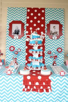 Dr. Seuss Thing 1 and Thing 2 1st Birthday Party for Twins - Twin - Red and Aqua Blue - Chevron & Polka Dots - Candy Sweets Dessert Table - Buffet - Ideas