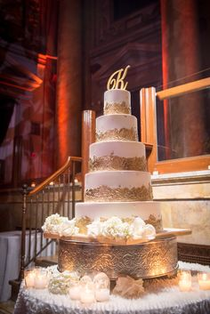 Glam Gold-Leaf Tiered Wedding Cake | Brett Matthews Photography https://www.theknot.com/marketplace/brett-matthews-photography-roslyn-heights-ny-293166