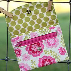 pink and green wallet