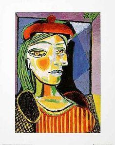 Pablo Picasso - Femme au beret rouge. ik vind dit meer bij een abstract portret passen. Je kan de delen van het gezicht wel herkennen maar de verhoudingen kloppen niet. Erg creatief