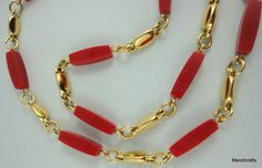 #Trifari #Necklace 24 inches T Tag Gold Tone Bean & Red Geometric Bead Station Retro Vintage