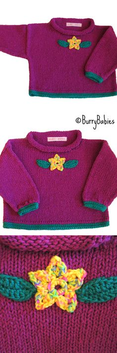 b115015f783 Violet Purple Knitted Baby Sweater with Crocheted Flower and Leaves  Applique. Baby Knitting Patterns