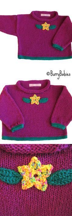 Purple Handknit Baby Sweater.