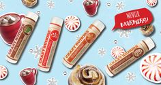 Luscious holiday balms from Crazy Rumors in Cinnamon Bun, Gingerbread, Hot Cocoa & Peppermint Twist. #BeCrueltyFree - http://crazyrumors.com/all-natural-lip-balms/winter-warmers.html