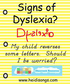 "Signs of Dyslexia?  Here are the early signs of dyslexia, advice on when to get help, and some examples of ""normal"" Kindergarten writing with reversals (backwards letters)."