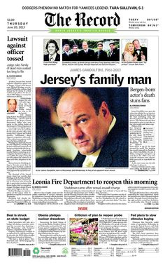 "Gandolfini was ""Jersey's family man"" to the Bergen County Record"