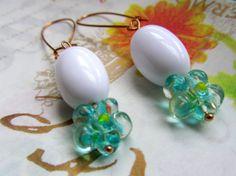 Vintage White Bead & Blue Green Glass Flower by Scentedlingerie, $16.00