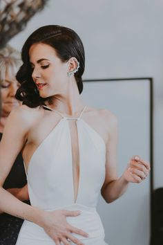 modern geometric wedding dress with string straps