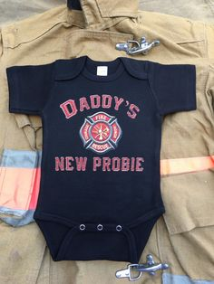 4bd04763e Firefighter Baby Onesies - Available in sizes 0 - 18 months. 4 colors to  choose from
