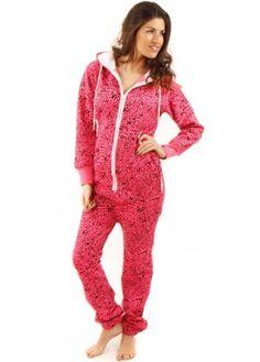 231c6cf696 Designer Desirables Neon Pink Leopard Print Hooded Fleece Unisex Onesie  Women s Onesies