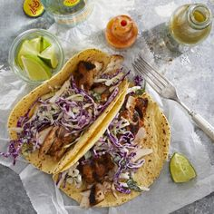 Instead of deep-frying the fish for these fish tacos, we coat the fish with a flavor-packed chile rub and grill it instead. Grilled Fish Tacos, Grilled Fish Recipes, Grilling Recipes, Seafood Recipes, Dinner Recipes, Dinner Ideas, Tilapia Recipes, Grilled Salmon, Meal Ideas