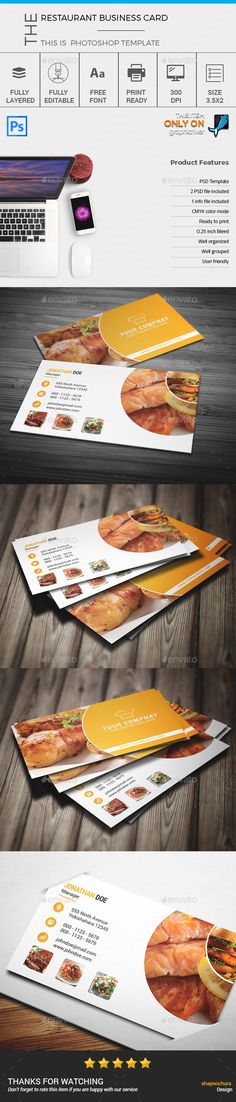Restaurant Business Card Template - Business Cards Print Templates Download here : https://graphicriver.net/item/restaurant-business-card-template/17664982?s_rank=31&ref=Al-fatih