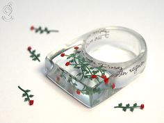 Red roses rain - romantic flower ring with red mini-roses made of resin for lovers