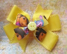 Dora the Explorer hair bow. Baby hair bows. Hair by BowBellaByMom, $9.49