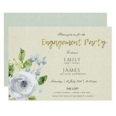 SOFT AQUA BLUE  WATERCOLOUR FLORAL ENGAGEMENT CARD - romantic wedding gifts wedding anniversary marriage party