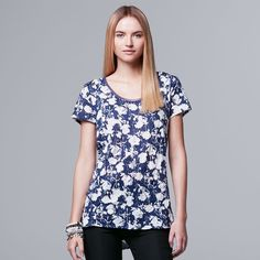 Women's Simply Vera Vera Wang Crinkle Tee, Size: Medium, Dark Blue