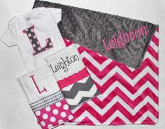 Personalized DOUBLE MINKY CHEVRON Baby Girl Blanket Plus 2 Burp Cloths and Initial Bodysuit - Pink and Gray by firstcrushdesigns on Etsy https://www.etsy.com/listing/167354570/personalized-double-minky-chevron-baby