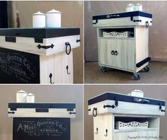 A Crafty Mix scoured her local second hand store and used an old tackle box and an office storage cupboard to create this amazing DIY kitchen island.