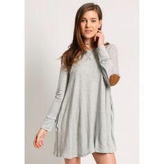 Ruche Dearest Wish Sweater Dress ($48) ❤ liked on Polyvore featuring dresses, grey, long-sleeve sweater dresses, viscose dress, rayon dress, ruching dress and gray dress