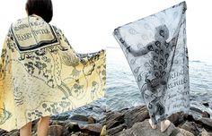 Lenços estampados com capa de livros - marca: Fresh Comfy;