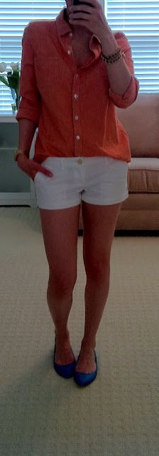 white shorts and blouse