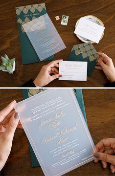 Emerald Art Deco Acrylic Wedding Invitation by Penn & Paperie. Unique and Modern Wedding Invitation.