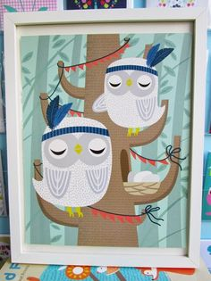 The new Print & Pattern's 'Woodland Friends' poster book. Featuring 20 pull out prints. Owls by Hillary Bird