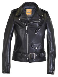 Women's Jackets - Schott NYC The Classic moto jacket: Black, Belted tight sleeves, silver metal, belted. And not cropped. Leather Collar, Leather Men, Cowhide Leather, Emo Dresses, Party Dresses, Moto Jacket, Biker Jackets, Leather Jackets, Women's Jackets