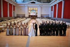 Gorgeous picture of a wedding party taken inside the Vets Memorial Building by Michael Grobin Photography.