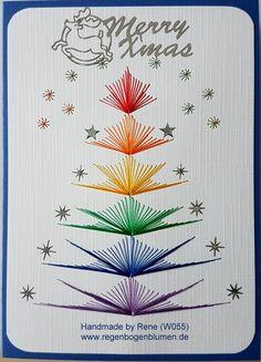 Weihnachten - Fadengrafik Grußkarten Set W55 Weihnachten rainbow - ein Designerstück von Bastelfan1809 bei DaWanda