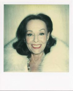"Paulette Goddard photographed by Andy Warhol/ Polaroid. They met in 1974 and became great friends. Paulette called Andy her ""little white Fox"""