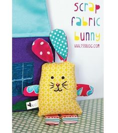 Kim from Seven Thirty Three shares a free pattern for this scrap fabric bunny softie. He is so cute!! His arms and legs and ears are a fun mix of color and pattern, and his tail is a bright pom …