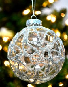 Easy DIY Christmas Ornament Ideas - German Glass Glitter Baubles - Click Pic for 30 Holiday Craft Ideas