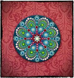 Elspeth McLean - Mini Original Round Painting- Jewel Drop Mandala- Harmonious and Happy. via Etsy. Mandala Painting, Pebble Painting, Dot Painting, Pebble Art, Stone Painting, Stone Crafts, Rock Crafts, Painted Rocks, Hand Painted