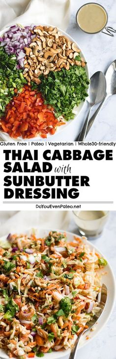 Crunchy, fresh, veggie-licious Thai Cabbage Salad recipe with Sunbutter Dressing - with cashews, cabbage, green onions, bell pepper, cilantro, and more, this healthy salad recipe is paleo, gluten free, vegetarian, clean eating, and Whole30-friendly! Add leftover roast chicken to make it a full meal. | DoYouEvenPaleo.net #paleo #glutenfree