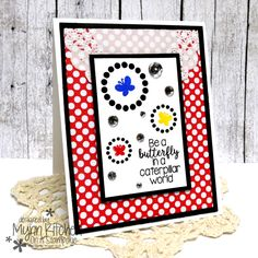 The Stamps of Life | triplitbutterfly2stamp set, Circles of Circles dies, Love Story Collection Patterned Paper Pad, Licorice ink, Strawberry ink, Blueberry ink, Banana ink, Powdered Sugar cardstock, Licorice cardstock | Mynn Kitchen | Handmade card