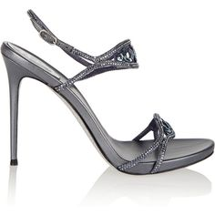 René Caovilla Crystal-embellished metallic leather sandals ($570) ❤ liked on Polyvore featuring shoes, sandals, anthracite, leather slingback sandals, leather shoes, metallic leather sandals, round cap and glitter sandals