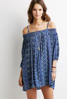 Ornate Print Open-Shoulder Dress | Forever 21 - 2049257884