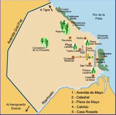 Plano turístico de Buenos Aires. Tourist map of Buenos Aires. List with pictures and addresses of places to go see in Buenos Aires. Information on each place is given in Spanish.