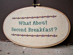 """What About Second Breakfast"" - Lord of the Rings Cross Stitch  by BananyaStand on Etsy"