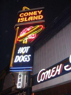 Coney Island Hot Dogs at night