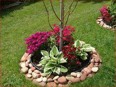 Un aiuola da giardino con le pietre idee fai da te da
