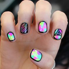The hottest watercolor, neon and outline nail trend from Cult Cosmetics.