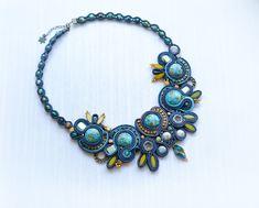 Stone gem soutache necklace, Ooak